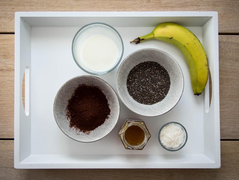 Zutaten für Chia Schoko Pudding