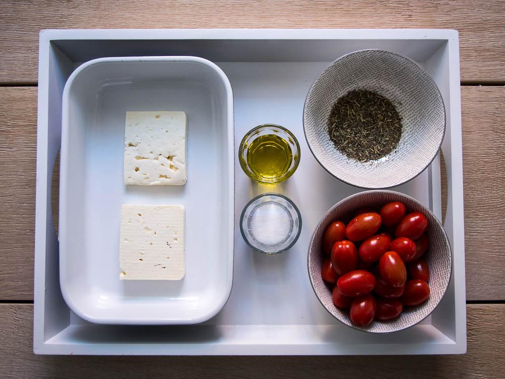 Zutaten für Tomaten Feta Auflauf.