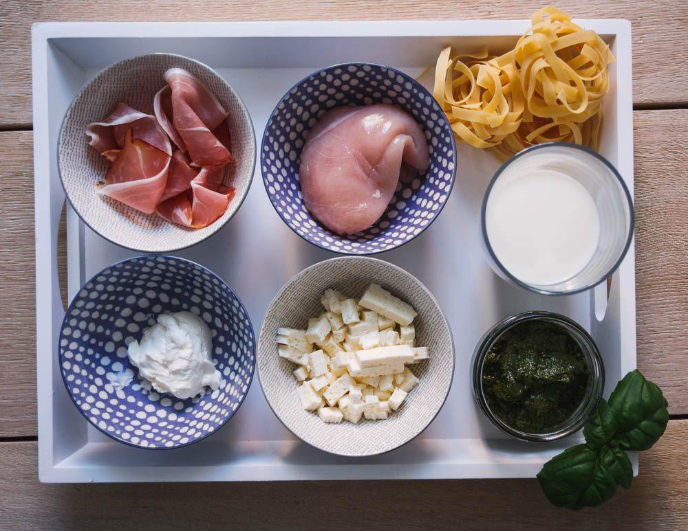 Zutaten Mediterrane Hähnchenrouladen mit Pesto und Fetafüllung