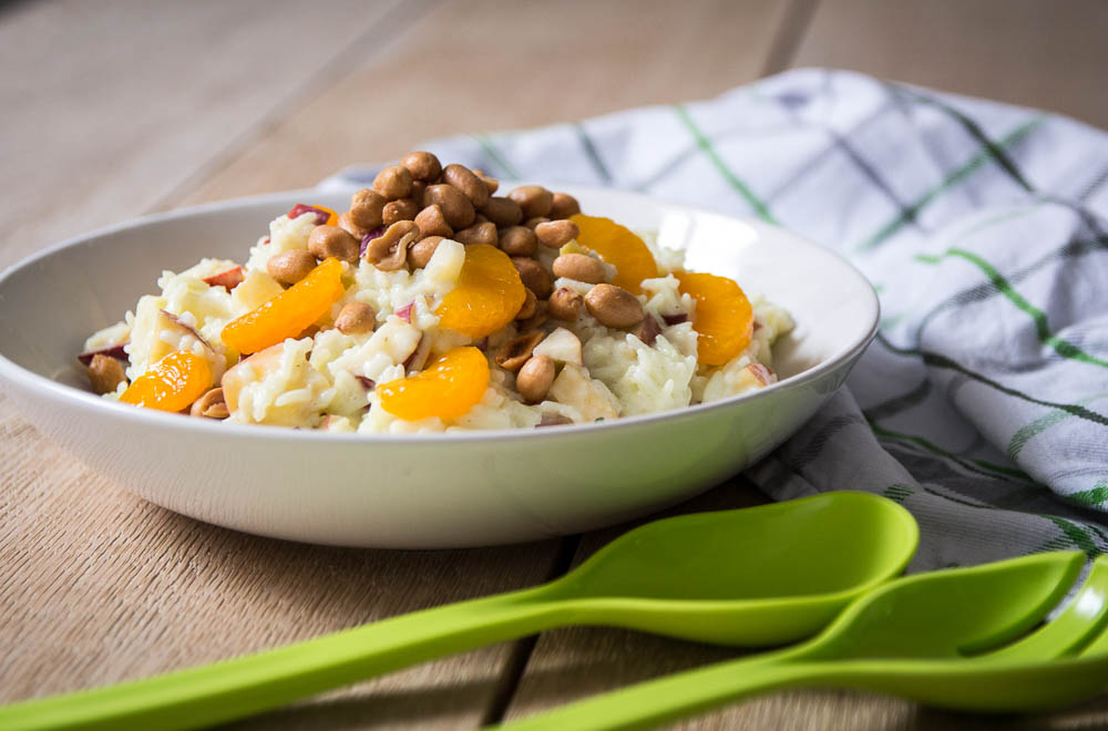 fruchtiger Reissalat mit Buttermilch-Dressing