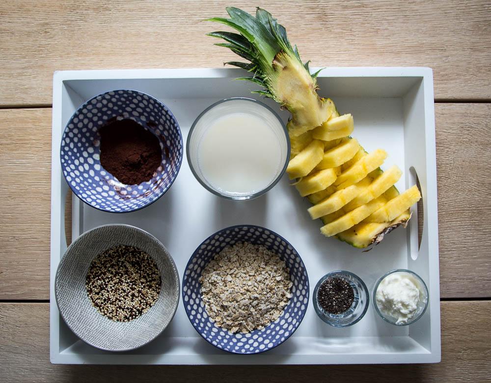 Zutaten Chia Quinoa Schoko Porridge