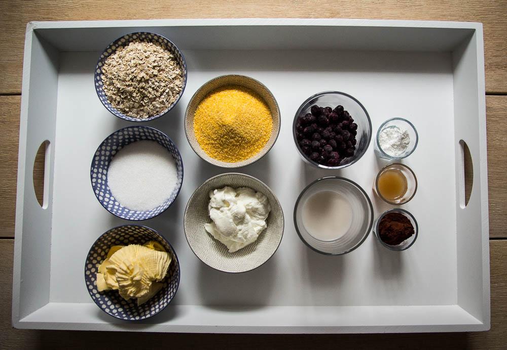 Zutaten für den Schoko Polenta Kuchen