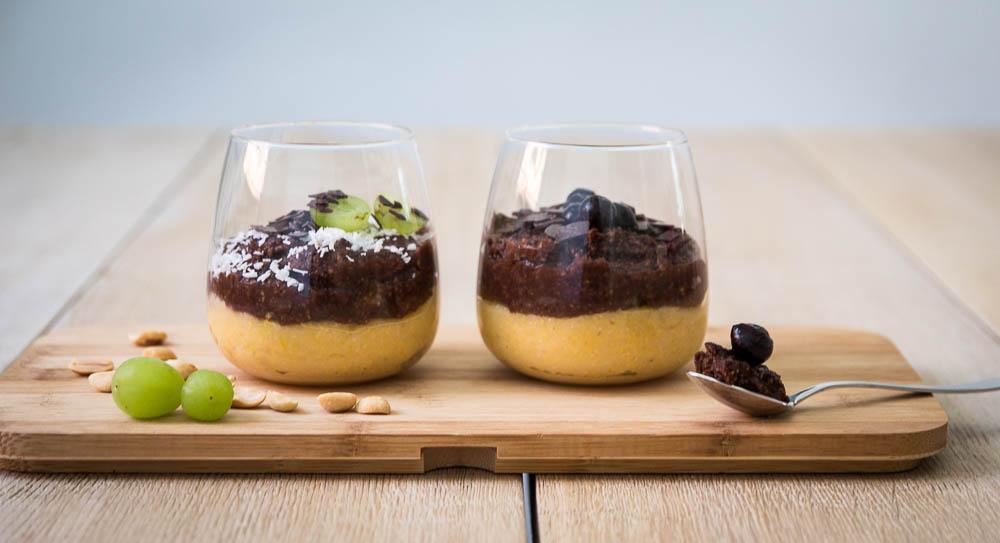 Polenta Pudding Dessert - Vanille & Kakao geschichtet